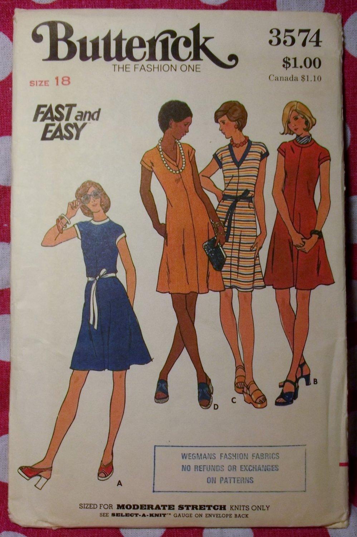 Vintage 70s Fast & Easy Butterick 3574 Pattern, Misses Dress, Sz 18, UNCUT