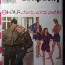 OOP 3 Hour Simplicity 8150 Pattern, Mens, Teens, Misses Shorts Tie Shirts, Sz XS-MD, Uncut