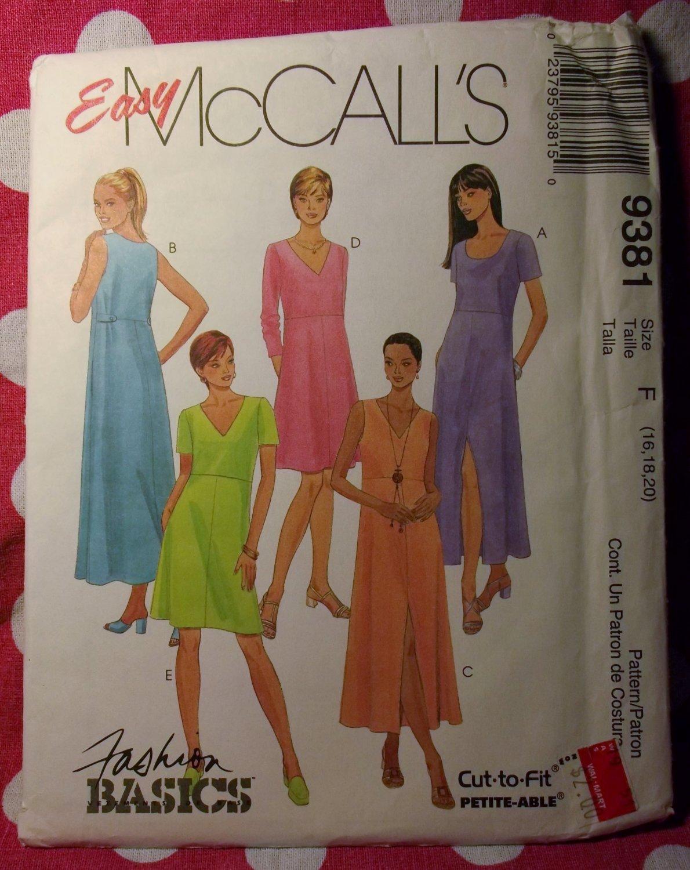 OOP Easy McCalls 9381  Pattern, Misses  Petite Scoop or V Neck Pullover Dress Sz 16 18 20, UNCUT