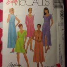 OOP Easy McCalls 9381  Pattern, Misses  Petite Scoop or V Neck Pullover Dress Sz 16 18 20, UNCUT