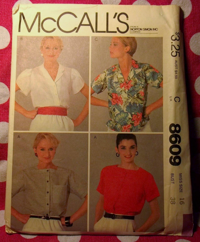Vintage  McCalls 8609 Pattern, Misses Blouse, Sz 16, UNCUT