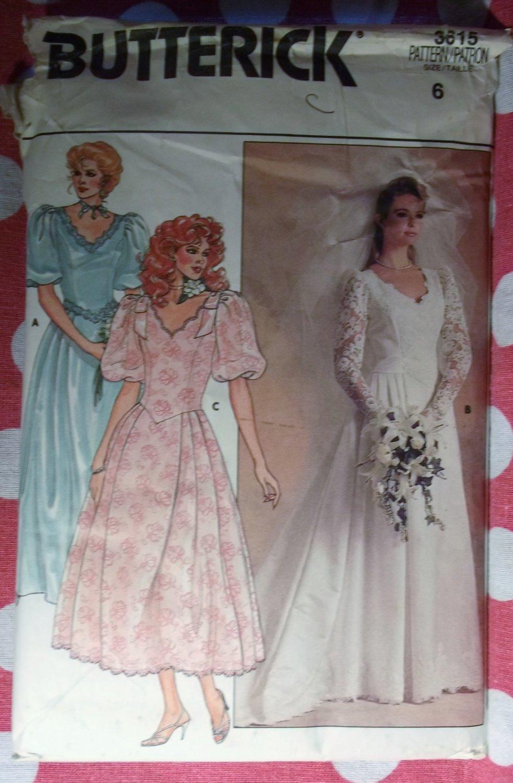 Vintage Butterick 3615 Pattern Misses Petite Wedding Bridesmaid Bridal Gown, Sz 6, UNCUT