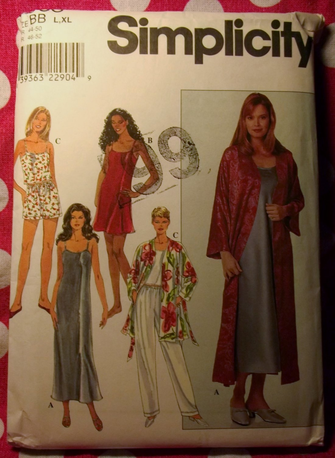 OOP Simplicity 8666 Pattern Misses Slip Nightgown Camisole Robe Pajamas, Sz L to XL, UNCUT