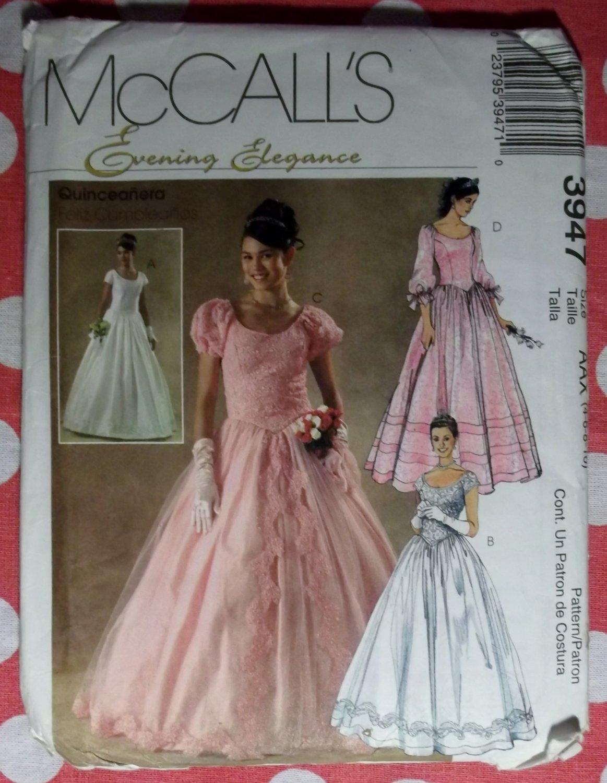 OOP McCalls 3947 Pattern, Misses Evening Elegance Quinceanera, Wedding, Formal, Dress. Sz 4-10 UNCUT
