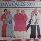 Vintage 70s Quick & Easy McCalls 5818 Pattern, Mens & Misses Robe or Jacket & Pants, Sz LG, UNCUT
