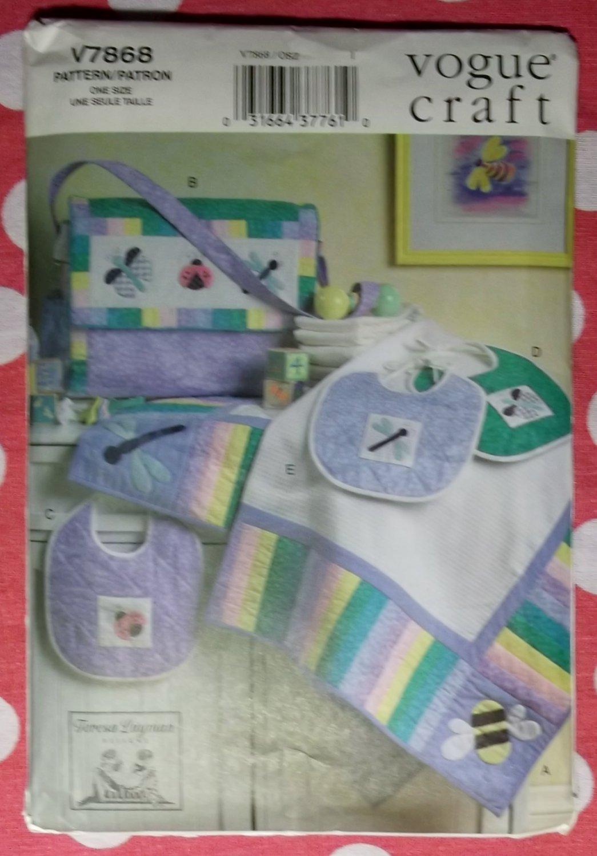 OOP VOGUE V7868 Pattern, Crafts Infant Quilt, Diaper Bag & Baby Bibs, UNCUT