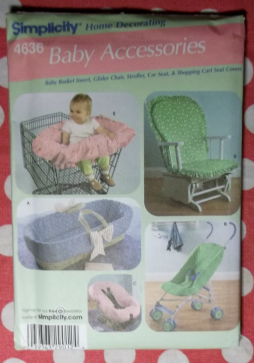 OOP Simplicity 4636 Pattern, BABY'S Stroller Car Seat Grocery Cart Glider & Chair Cover, UNCUT