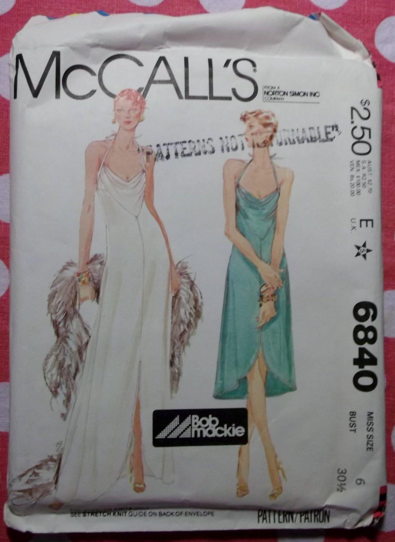 Bob Mackie Vintage McCalls 6840 Evening Halter Dress Pattern,  Sz 6, Uncut