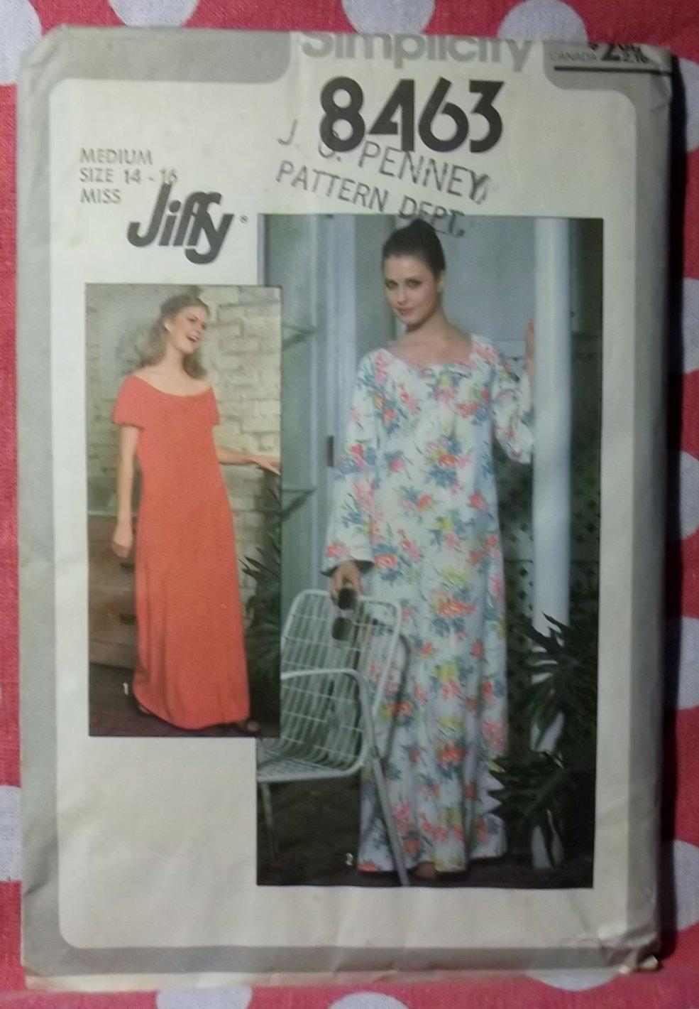 Vintage 70s Jiffy Simplicity 8463 Caftan, Muu Muu or Dress Pattern Sz Md 14-16, Uncut
