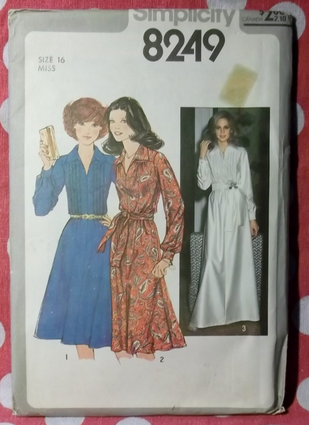 Vintage 1977 Simplicity 8249 Sewing Pattern, Maxi or Knee Length Dress, Sz 16, Uncut