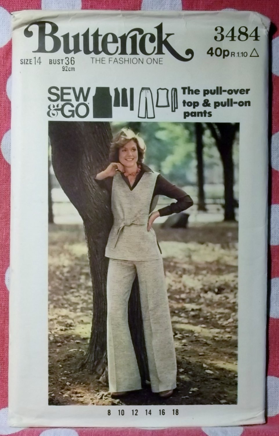 Vintage 1970s Sew & Go Butterick 3484 Pattern, Pull-over Top & Pants - Sz 14, Bust 36, Uncut