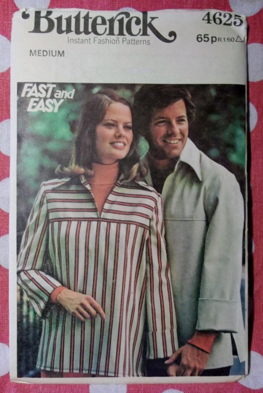 Vintage Butterick 4626 Pattern, Unisex Top, Size  Md, UNCUT