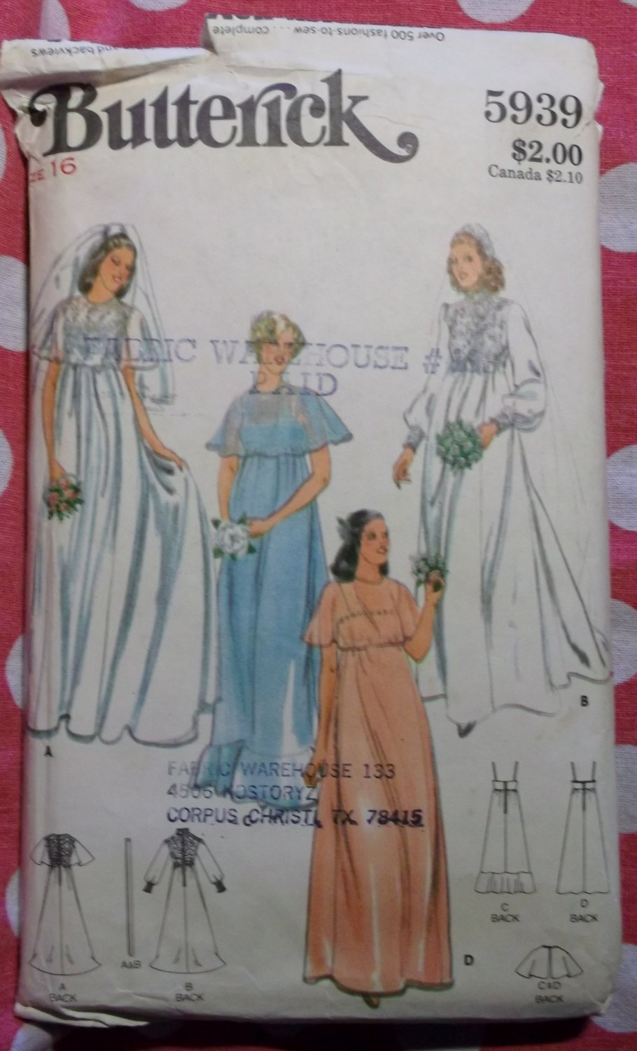 Vintage Butterick 5939 Pattern, Misses Wedding Bridesmaid Bridal Gown, Sz 16, Uncut