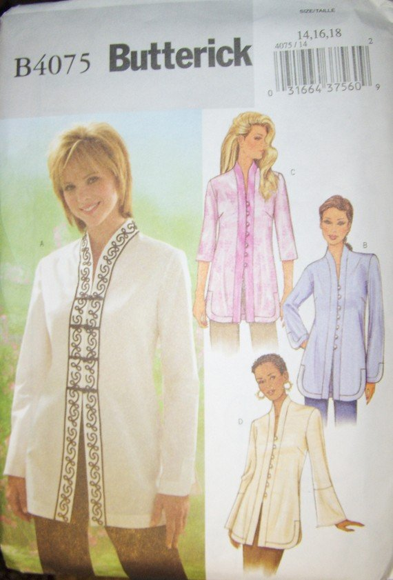 OOP Easy Butterick B4075 Pattern, Misses Tunic, Size 14, 16, 18, Bust 36, 38, 40, UNCUT FF