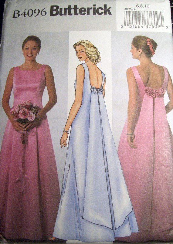 OOP Easy Butterick B4096 Sewing Pattern, Dress, Gown, Size 6 8 10 Bust 30 1/2, 31 1/2, 32 1/5, UNCUT