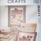 McCalls Crafts M4611 Pattern, Harvest Sampler, Wall Hanging, Pillow, Table Runner,  UNCUT