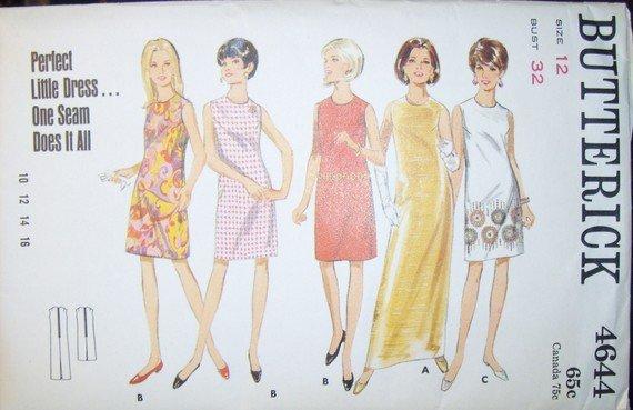 Vintage Butterick 4644 Pattern, Misses One Seam Dress, Size 12, Bust 32, UNCUT