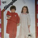 Vintage 80s Simplicity 5779 Toddlers Pajamas, Nightgown & Pajama Bag Sz 1, Uncut