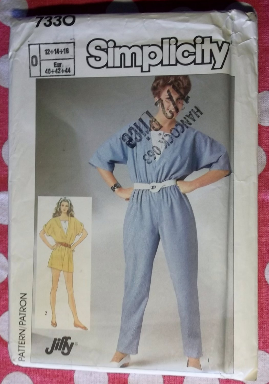 Vintage Jiffy 80s Simplicity Pattern 7330 Misses Jumpsuit Sz 12 14 16, Uncut