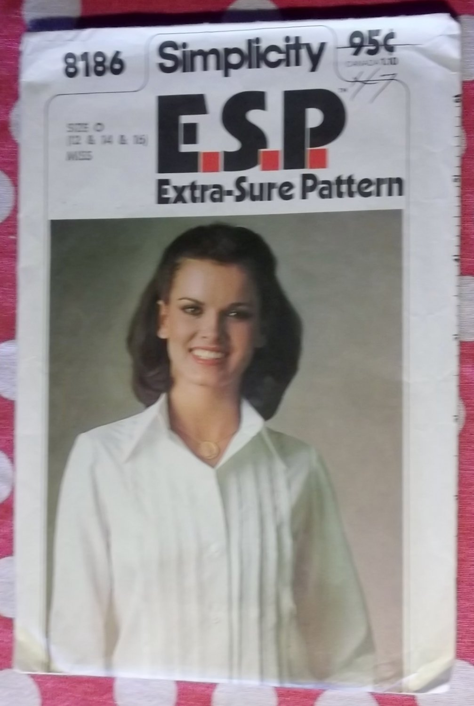 Vintage 70s Simplicity 8186 Pattern, Misses'  Tucked Shirt Blouse, Sz 12 14 16, Uncut