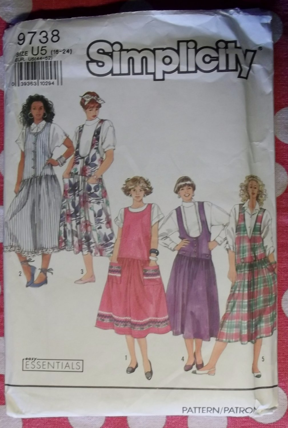 OOP Easy Simplicity 9738 Sewing Pattern Misses Jumper with Bodice Variations, Sz 16 - 24, Uncut