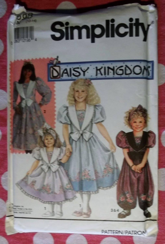 OOP Simplicity Pattern 7698 Daisy Kingdom Girls Dress or Romper, Sz 10-14, Uncut