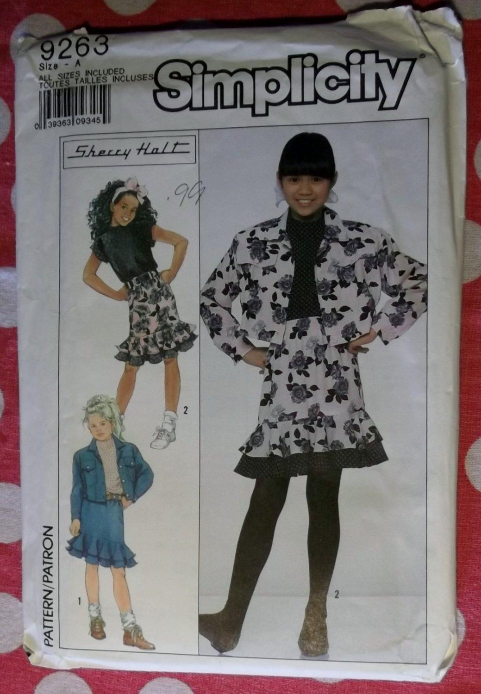 OOP Simplicity 9263 Pattern, Girls Jean Style Jacket, Top & Skirt, Sz 7 to 14, Uncut,