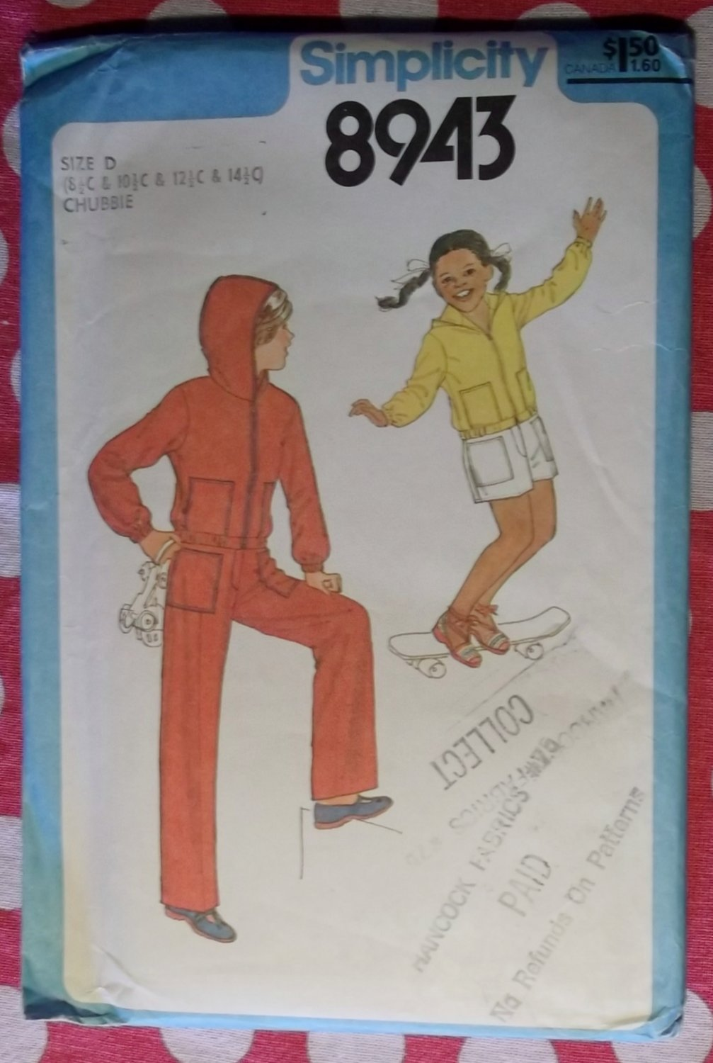 OOP Simplicity 8943 Pattern, Outerwear, Pants, Shorts, Hooded Jacket, Sz Chubbie 8 1/2 to 14 1/2.