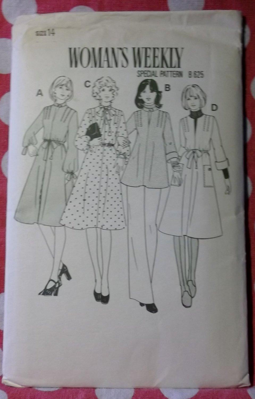 Vintage 70s Women's Weekly Special B 625 Pattern, Dress & Top, Sz 14, Uncut