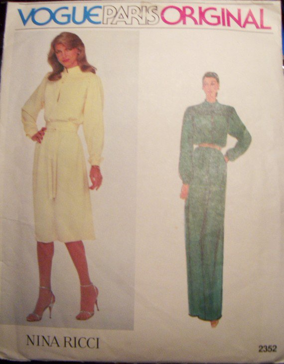 Nina Ricci Vogue 2352 Paris Original Dress Pattern, Size 10, Bust 34, UNCUT