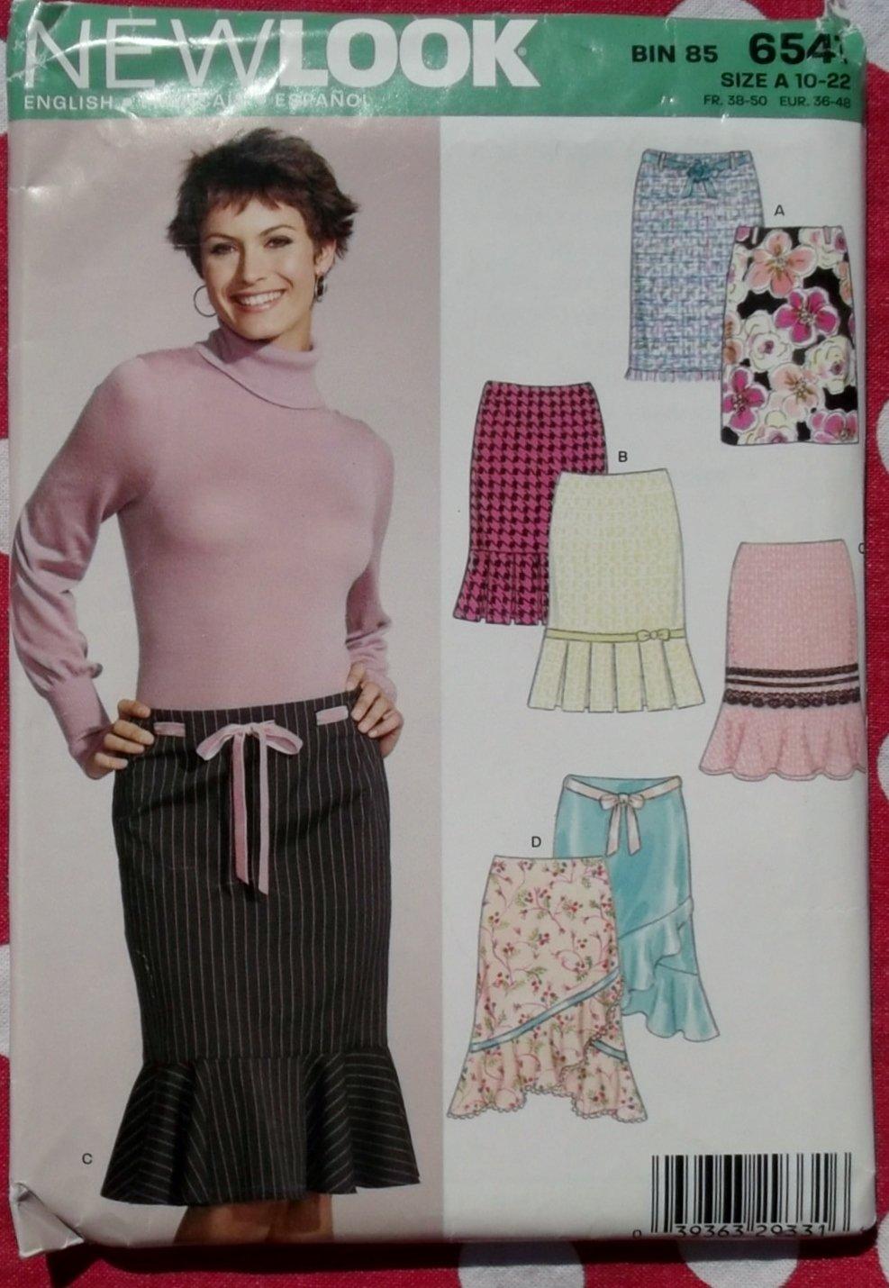 OOP Simplicity New Look 6541 Pattern, Misses Skirt 4 styles, Sz 10-22, UNCUT
