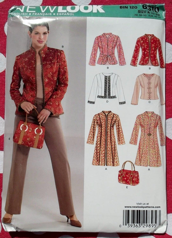 OOP Simplicity New Look 6610 Pattern, Misses Jacket & Bag, sz 10-22, Uncut