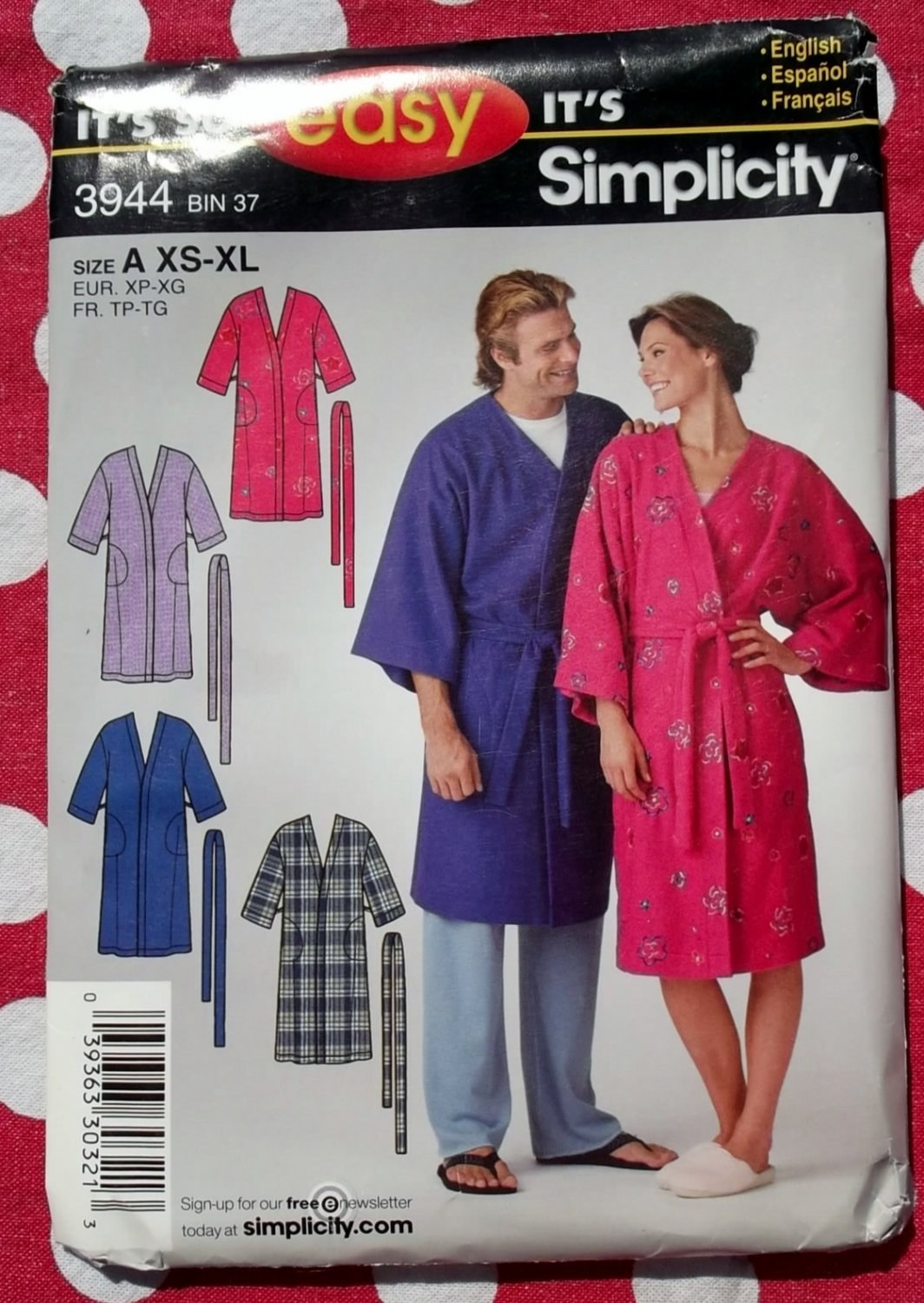 OOP Easy Simplicity 3944 Misses, Mens, Teens Robe Pattern, XS S M L XL, Uncut