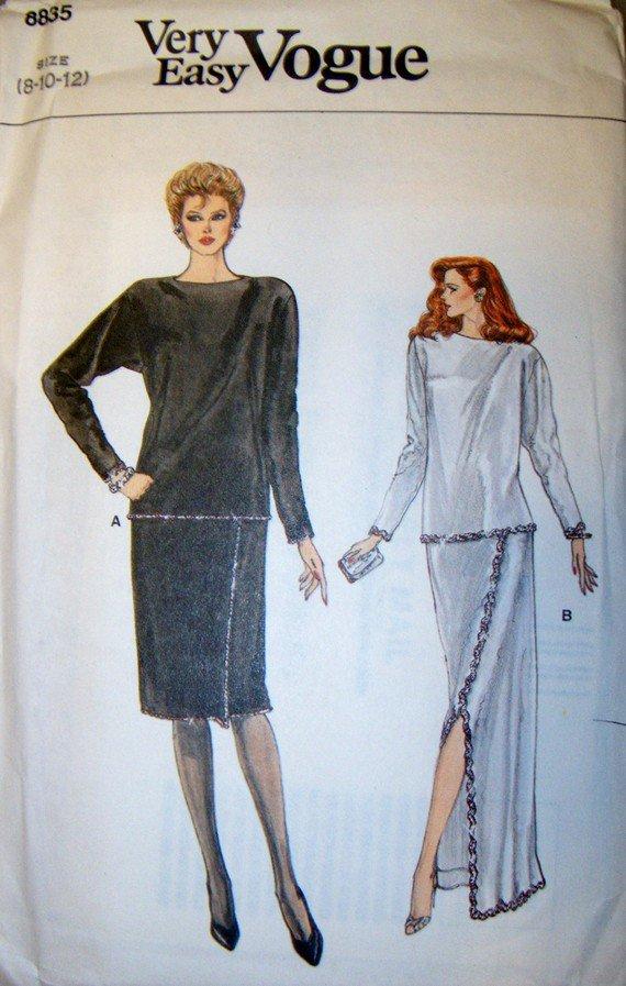 OOP Very Easy Vogue 8835 Sewing Pattern, Misses Dressy Top & Skirt, Sz 8, 10, 12, Uncut