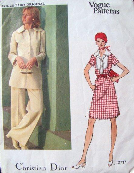 Vintage 1970s Vogue 2717 Paris Designer Original Christian Dior Pattern, Dress, Tunic & Pants, Sz 12
