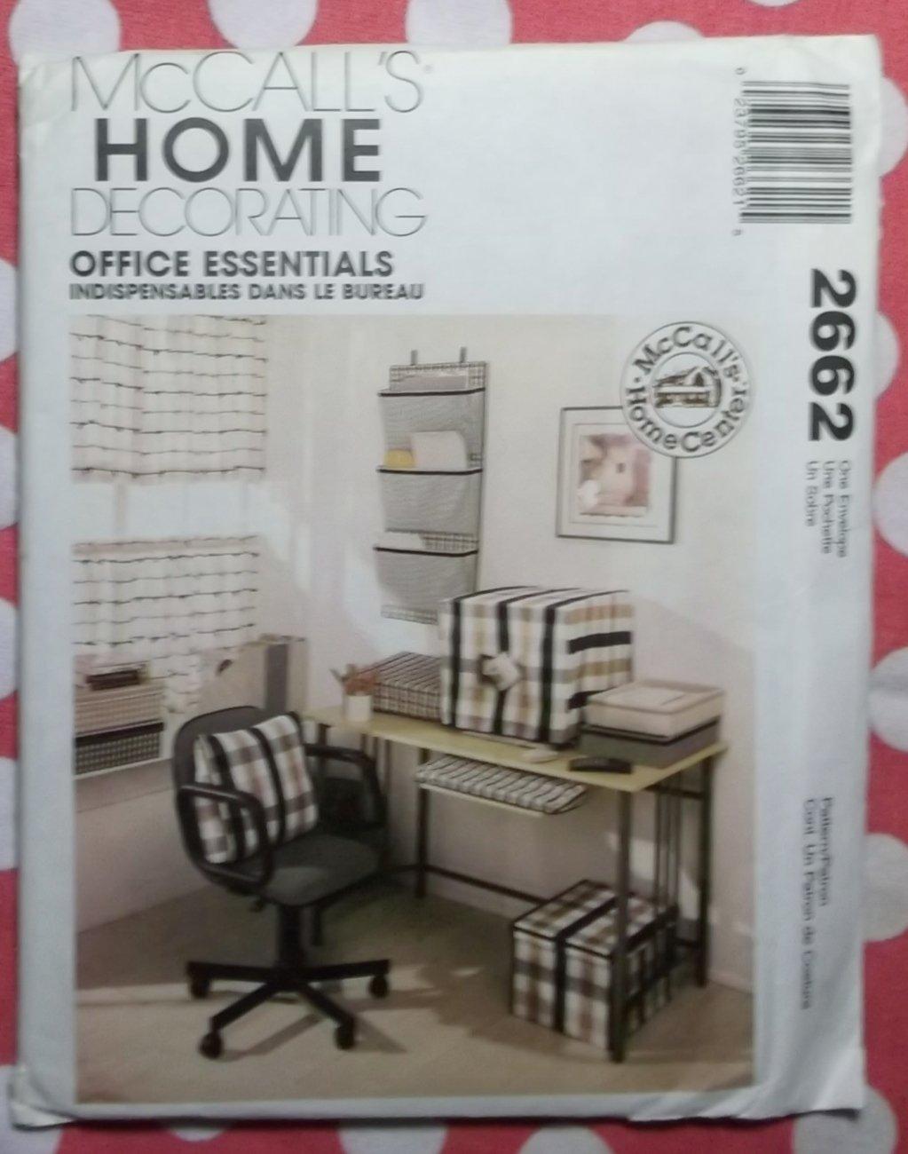 OOP McCalls 2662 Office Essentials, Home Decor Pattern, Uncut