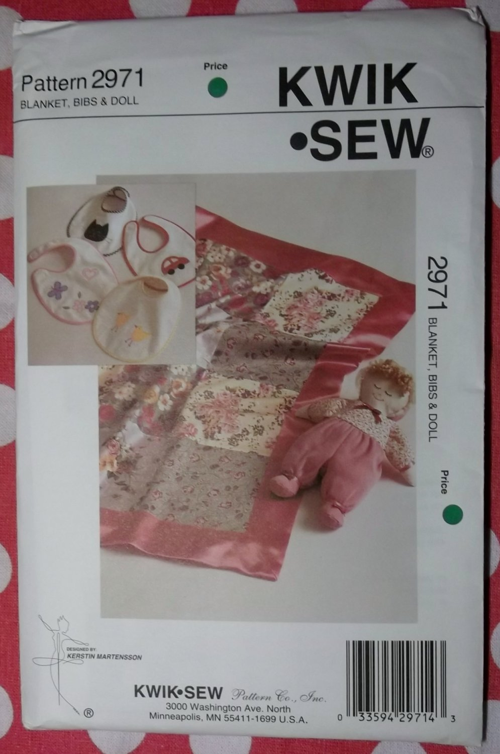 Kwik Sew 2971 Baby Blanket Bibs and Doll Pattern, Uncut, Sealed