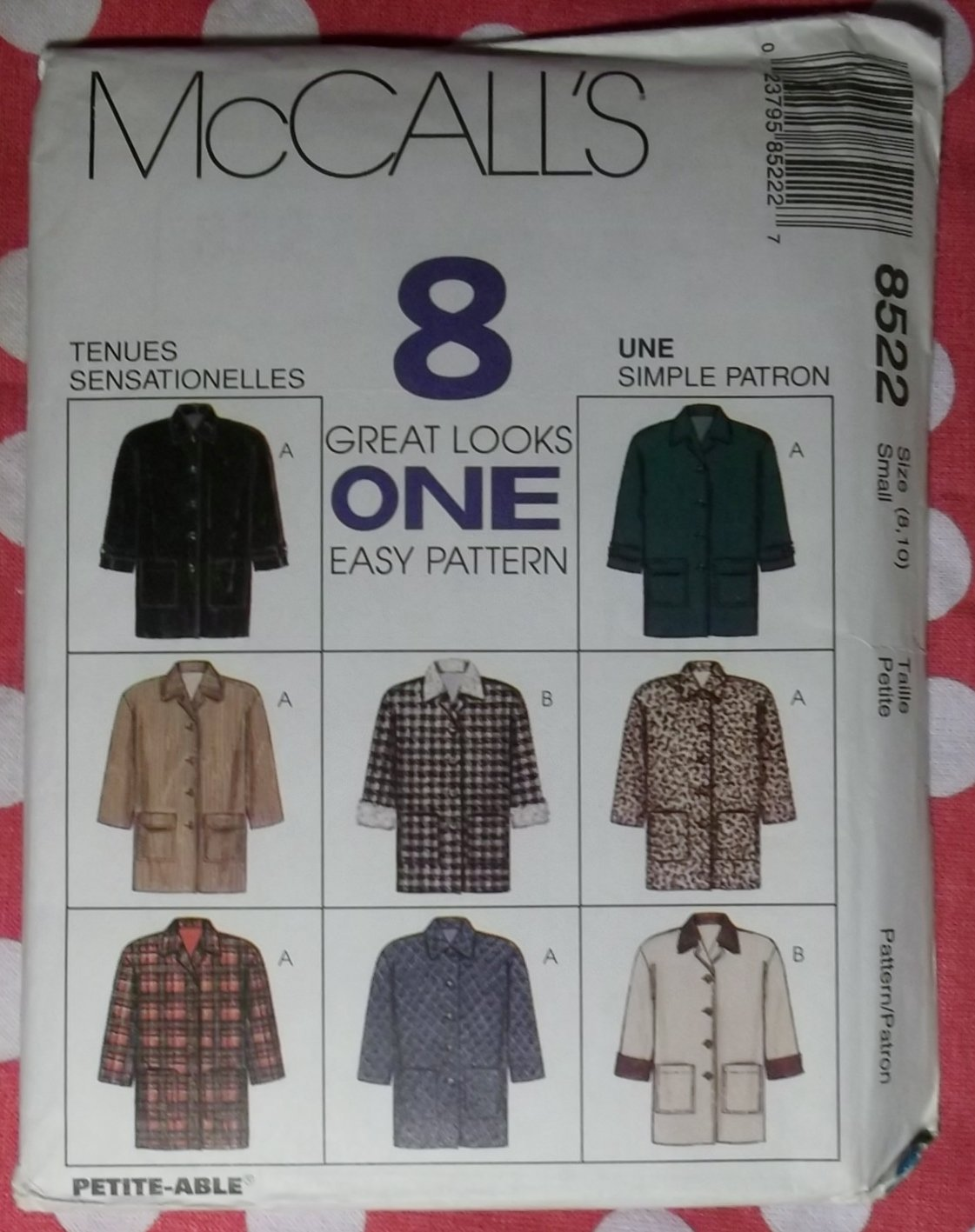 OOP Easy McCalls 8522 Misses Lined Jacket 8 Great Looks, Sz Sm 8/10, Uncut