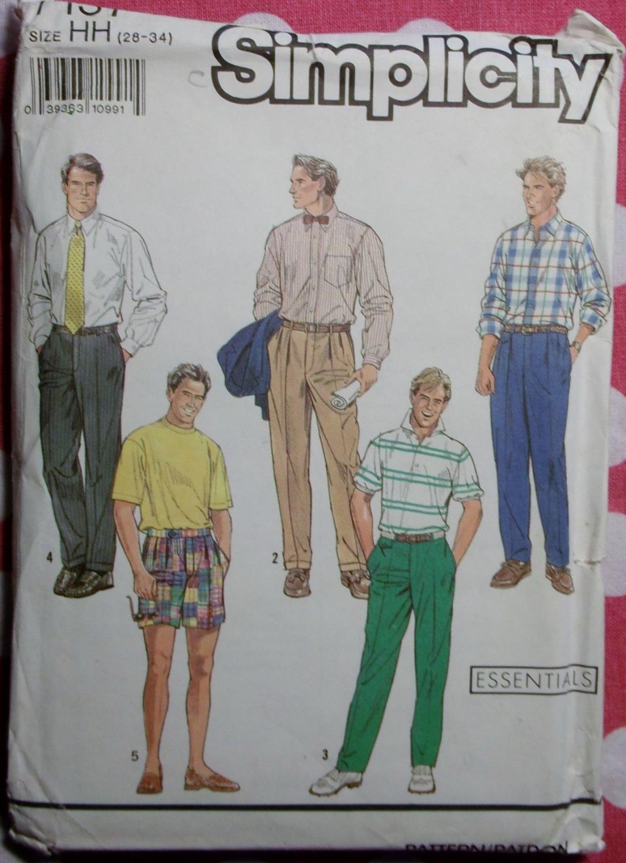 OOP Simplicity 7137 Pattern,  Mens Pants or Shorts Sz 28 to 34, Uncut