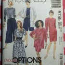 McCalls 5755 Easy Ladies Cardigan Dress Top & Skirt Pattern, Sz 14 16, Uncut