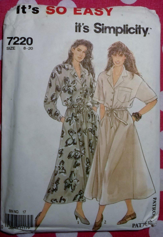 OOP Easy Simplicity 7220 Pattern, Misses Shirt Dress, Sz 8 to 20, Uncut
