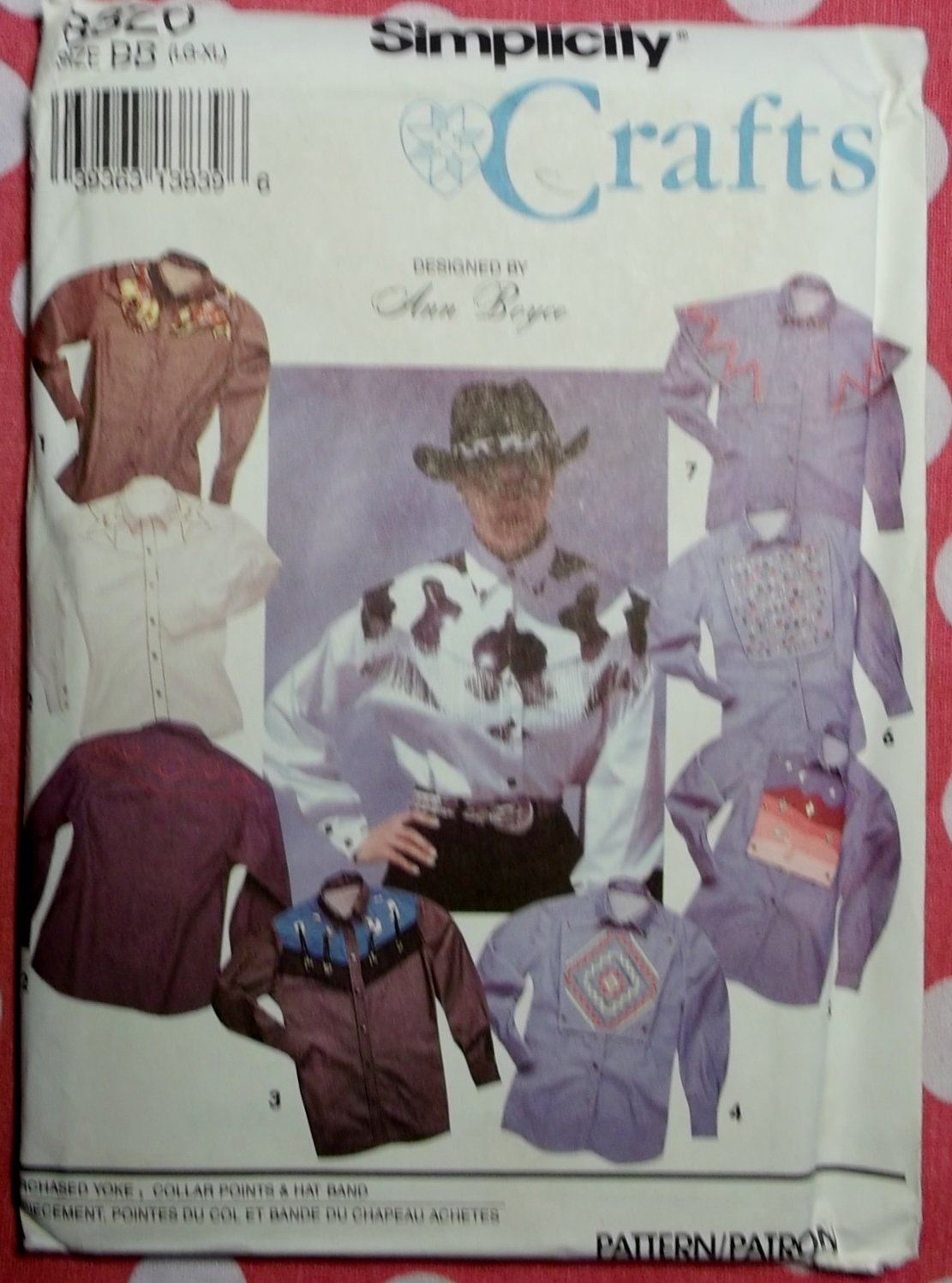 Unisex Rodeo Western Shirts OOP Simplicity 8326 Sewing Pattern Sz. L-XL, Uncut