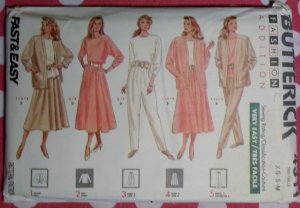 OOP Easy Butterick 4311 Pattern, Misses Jacket, Top, Skirt & PantsSz XS S M, Uncut