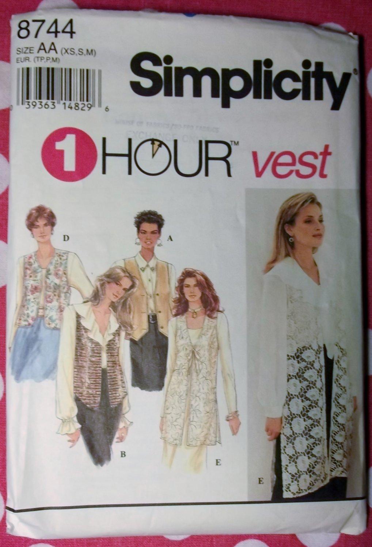OOP Simplicity 8744 Ladies Lined Vest Set Sewing Pattern, Sz Xs Sm Md,