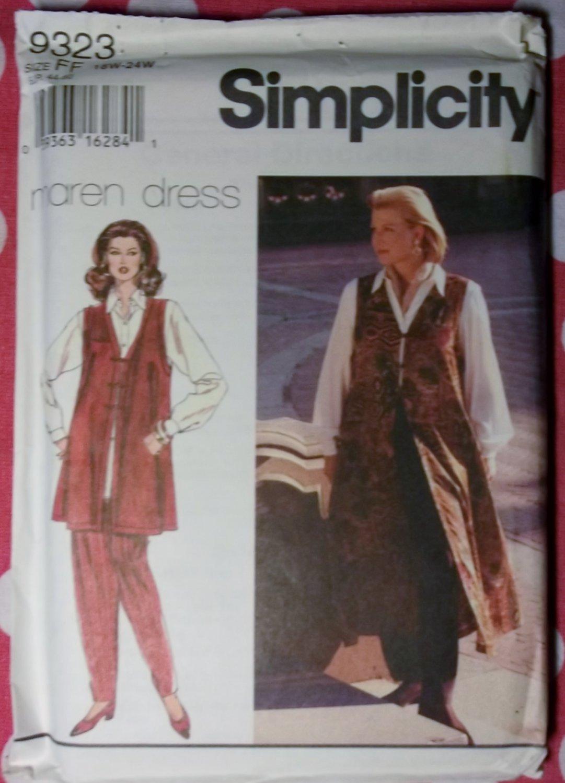 OOP Simplicity 9323 Pattern, Womens Maren design Pants, Shirt & Vest, Sz 18 20 22 24W. Uncut