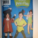 OOP Simplicity 9862 Peter Pan, Captain Hook, & Tinker Bell Costume Size 3 to 8 Child, UNCUT