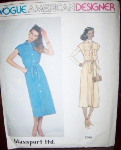 Vintage 1980s Designer Bill Blass Vogue 2096 Pattern Dress, or Jumper & Belt Sz 12, Bust 34, Uncut