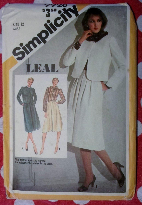 Vintage simplicity 9928 Pattern, Misses Suit with Lined Jacket & Blouse, Sz 12, Uncut
