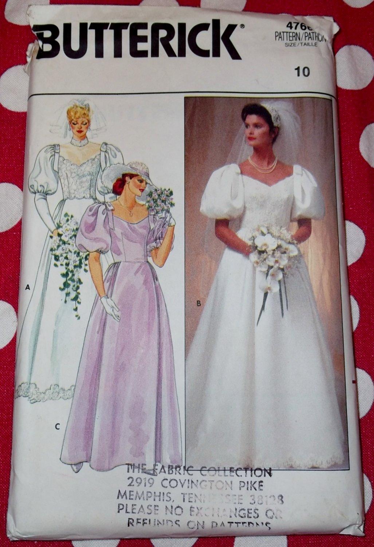 Vintage Butterick 4766 Wedding Dress Bridesmaid Gown Pattern, Sz 10, Uncut