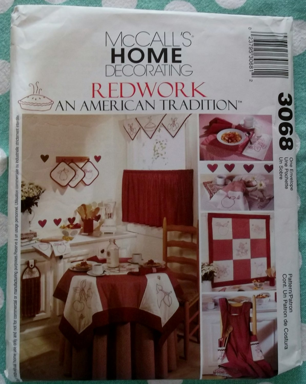 McCalls 3068 Kitchen Accessories Redwork, apron tablecloth placemat sewing pattern, Uncut
